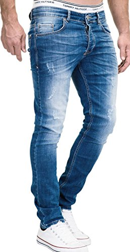 MERISH Jeans Herren Slim Fit Jeanshose Stretch Designer Hose Denim 501 (33-30, 501-2 Mittelblau) -