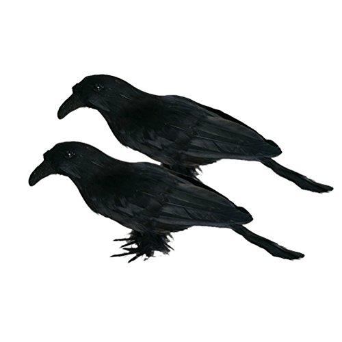 OUNONA Krähen Halloween Prop Dekor 2pcs realistische schauende Rabe Halloween Dekoration Vögel Schwarzes mit Federn versehene(Schwarzes)