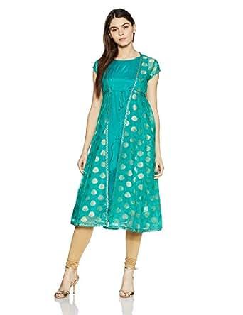 Rangriti Women's Anarkali Kurta (RMMFUSION F8056_Turquoise_46)