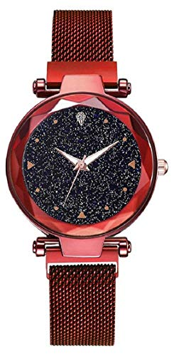 XAVIER Luxury Fashion Womens Quartz Rhinestones Watches Starry Red Ladies Wrist Watch with Thin Steel Magnetic Strap for Womens & Girls (Red)