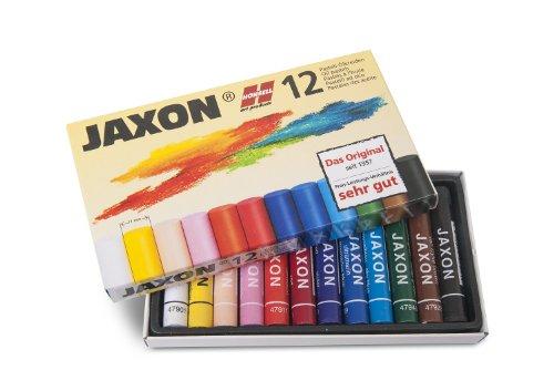 Honsell 47412 - Jaxon Ölpastellkreide, 12er Set im Kartonetui, brillante, lichtechte Farben, ideal für Künstler, Hobbymaler, Kinder, Schule, Kunstunterricht, frei von Schadstoffen