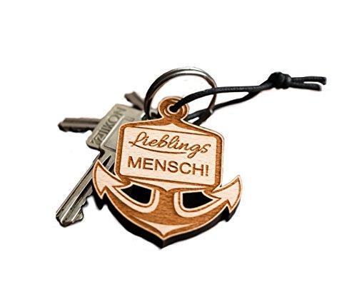 Schlüsselanhänger Anker aus Holz mit Gravur Geschenk Freunde
