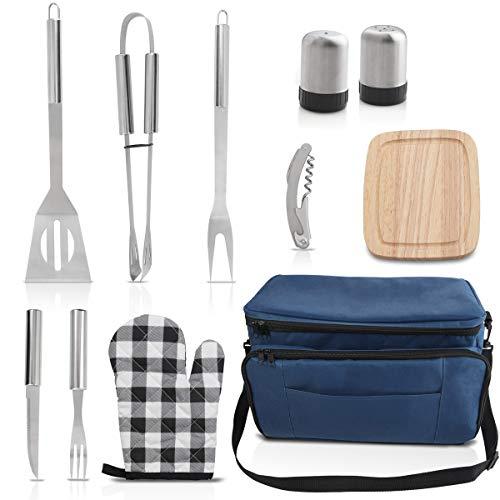 griljoy12 PCS Grill-Werkzeugset mit blau isolierter Kühltasche - Grillutensilien aus Edelstahl, Premium-Grillzubehör für den Außenbereich - Perfektes Grillwerkzeug für Campingliebhaber