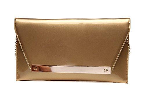 Handbeutel, Umschlagbeutel, koreanische Art und Weisehandbeutel, Abendbeutel, Paket ( Farbe : Gold ) Gold