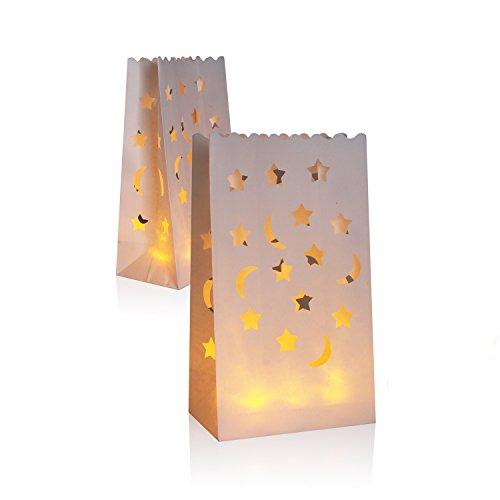 30 paquetes de linterna luminaria de papel, bolsitas de té con luz de velas   Papel ignífugo para la fiesta de bodas de la boda de la barbacoa y el evento de interior y exterior