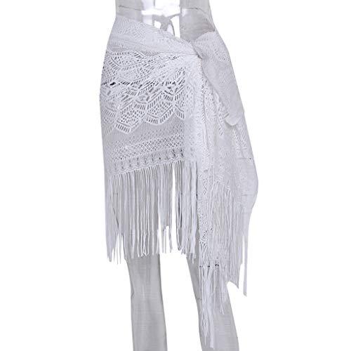 IILOOK Damen Bademode Strand Sonnencreme Hemd Bikini Strand Schal Fransen Rock Rock und Knie Rock Abendkleid langes Kleid schlank hohe Taille Kleid Mode (Free, Weiß)