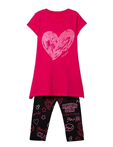 Desigual girl knit t-shirt short sleeve (pack_papaya), bambina, rosso (pink fuschia 3022), 128 (taglia produttore: medium)