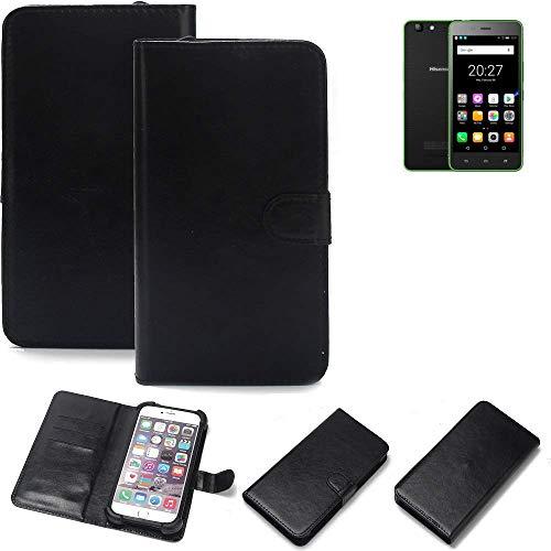 K-S-Trade 360° Wallet Case Handyhülle Hisense Rock Lite Schutz Hülle Smartphone Flip Cover Flipstyle Tasche Schutzhülle Flipcover Slim Bumper schwarz, 1x