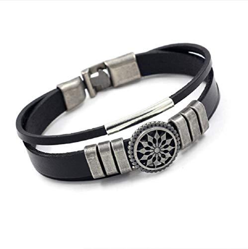 MXH Armband Leder Armband Retro Lederseil Lederschmuck,Black