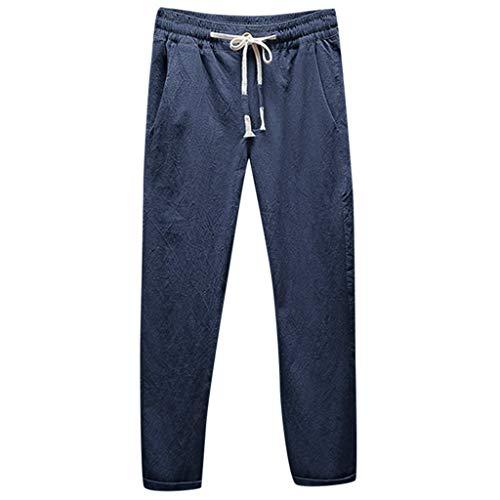 Yuan  Männer Casual Leinen atmungsaktiv lose Lange Hosen einfarbig gerade (Bau Kostüm Männer)