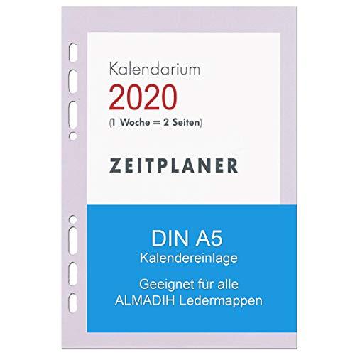 A5 Kalendereinlage 2020 für ALMADIH Ledermappen: A5 Terminplaner & Organizer - (1 Woche auf 2 Seiten) Ersatzkalendarium Kalender Einlagen Zeitplaner Time-Planer Jahresplan (A5 2020-1 Woche 2 Seiten)
