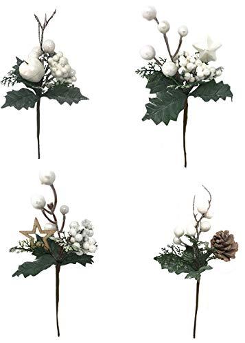 Vetrineinrete® 4 rami artificiali decorazioni natalizie con bacche di agrifoglio bianche stella pigna fiori 22 cm addobbi di natale per albero 1758 p39