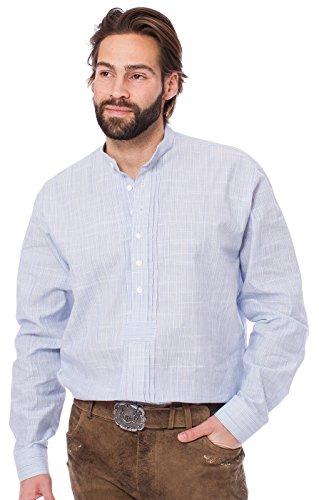 Orbis Trachtenhemd Pfoad Stehkragen mittelblau, XL