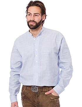 Orbis Trachtenhemd Pfoad Stehkragen mittelblau