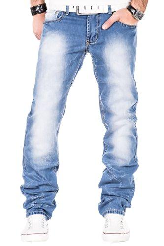Kosmo Lupo Herren Jeans Hose Clubwear Verwaschen Denim Vintage 053 Blau (W36/L34)