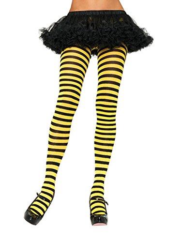 ickdichte Ringel-Strümpfhose Kostüm Damen Karneval, Einheitsgröße, schwarz/gelb (Damen Halloween-strumpfhosen)