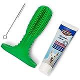Hundezahnbürste - [3-in-1] Handliche Hunde Zahnbürste...