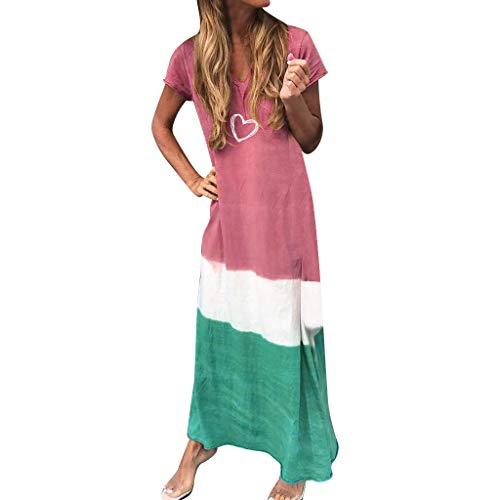 kleid Ohne Kurzarm Knielang Strandkleid Elegant Partykleid Cocktailkleid Druck A-Linie Kleider Casual TräGerkleid Lose T-Shirt Kleid S-5XL(D rot,XXXL) ()