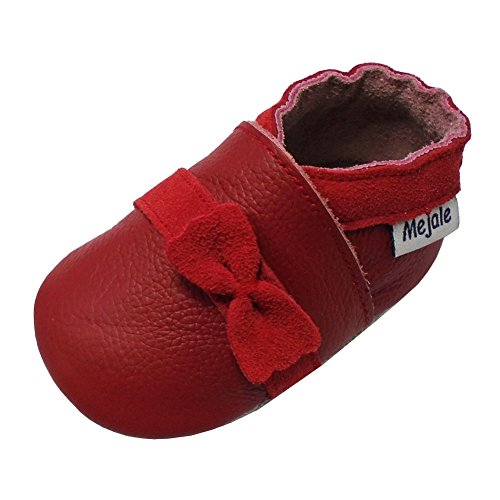 7519e5ec709cb Mejale Chaussures Bébé en Cuir Souple - Chaussons Bébé - Chaussures  Premiers Pas avec Le Noeud