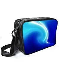 Snoogg White And Blue Design Leather Unisex Messenger Bag Material PU