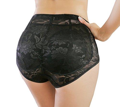 Glield Traspirante Pizzo Slip dã Donna Intimo Imbottita a Vita Alta per le Donna-sexy Removibile Booty Riempito Panty - M, L Taglia TTK02 (nero, L)