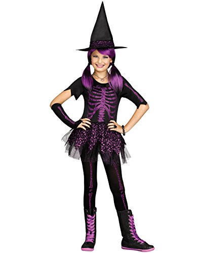 Fun World Skeleton Witch Girls Gothic Halloween Costume-L Large 12-14