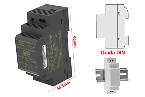 MeanWell HDR-30-12 Trasformatore Rotaia Industriale 12V 24W 2A Barra Guida DIN Rail Power Supply Universale