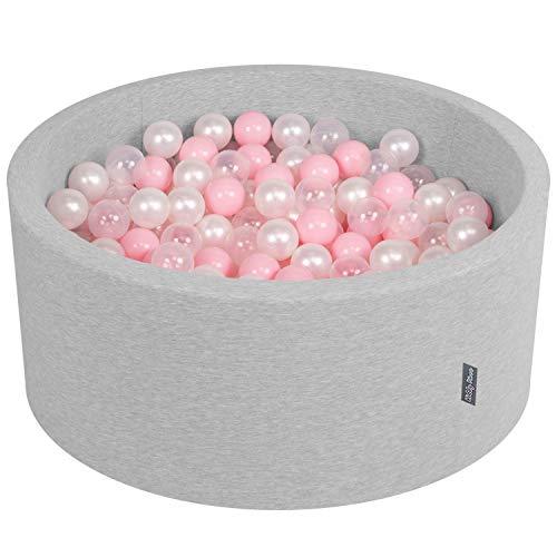 KiddyMoon 90X40cm/300 Bolas ∅ 7Cm Piscina De Bolas para Ninos Hecha En La UE, Gris Claro: Rosa Claro/Perla/Transparente