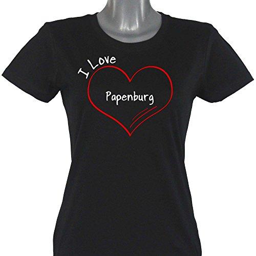 Multifanshop T-Shirt Modern I Love Papenburg schwarz Damen Gr. S bis 2XL, Größe:XL