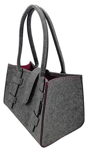 Tebewo Handtasche,Shopping-Bag aus Filz, verschließbare Einkaufs-Tasche mit Henkel, Einkaufskorb, Faltbare, vielseitige Tragetasche (Dunkelgrau/Magenta)