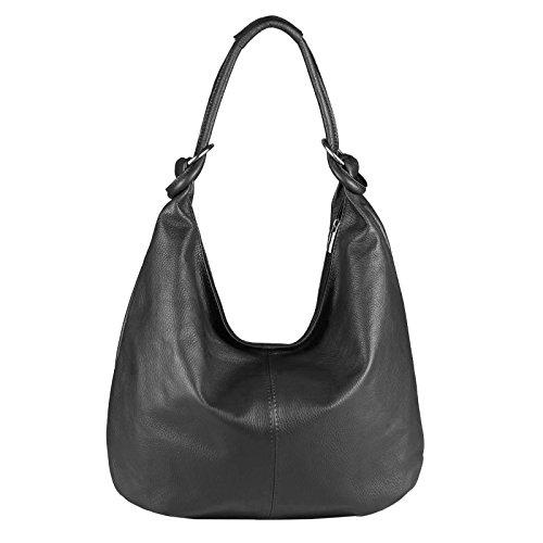 OBC Made in Italy Femmes XXL Sac en cuir Cuir Daim Sac Pour Shopping Sac À Bandoulière Sac Hobo sac - Noir (Cuir - 47x35x16 cm), in vielen Größen verfügbar