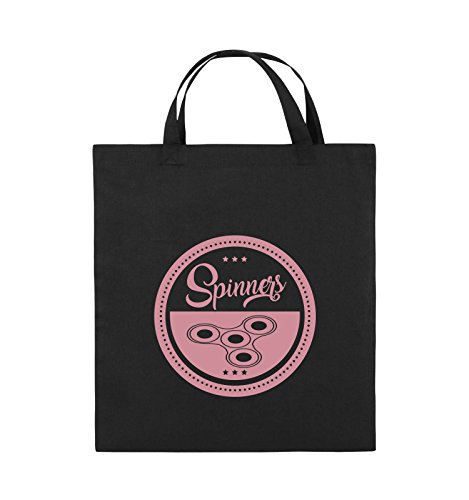 Comedy Bags - Spinners - MOTIV KREIS - Jutebeutel - kurze Henkel - 38x42cm - Farbe: Schwarz / Pink Schwarz / Rosa