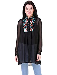 Mind The Gap Black Georgette Tunic With Embroidered Yoke