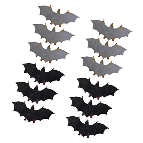 Zeagro 12 x Fledermäuse für Halloween, Nagetiere, aus Kunststoff