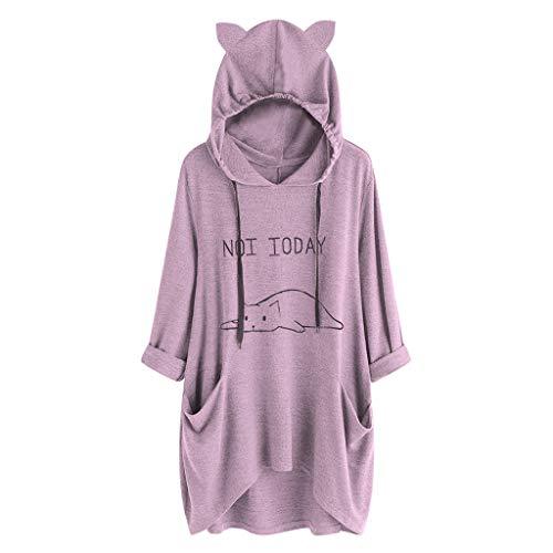 VEMOW Damenmode Tasche Lose Kleid Damen Rundhalsausschnitt beiläufige Tägliche Lange Tops Kleid Plus Größe(Y3-a-a-Violett, EU-44/CN-M)