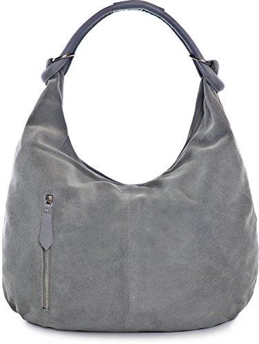 CNTMP Damen Schultertasche Leder, Hobo-Bag, Leder Handtasche Damen, Beuteltasche Wildleder, Leder-Tasche DIN-A4, 44x36x4cm (B x H x T), Farbe:Grau (Hellgrau)