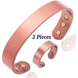 Pulsera de cobre para la artritis Magnética Hombres o mujeres INCLUYE anillo con imanes para los dedos