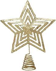 OSALADI Christmas Star Tree Topper Holiday Christmas Tree Star DecorOrnaments Golden