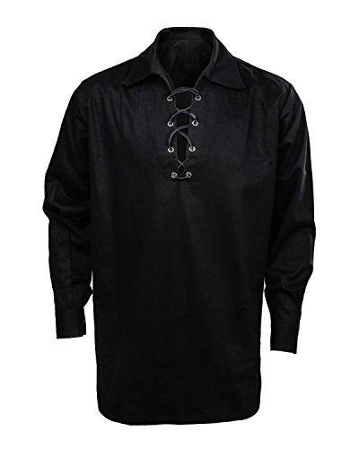 Herren Schottischer Jacobit Ghillie Kilt Weiß Creme Highland Hemd Langarm Schnürung Mittelalter Renaissance Pirat Kostüm Hemd, Herren, schwarz, Small