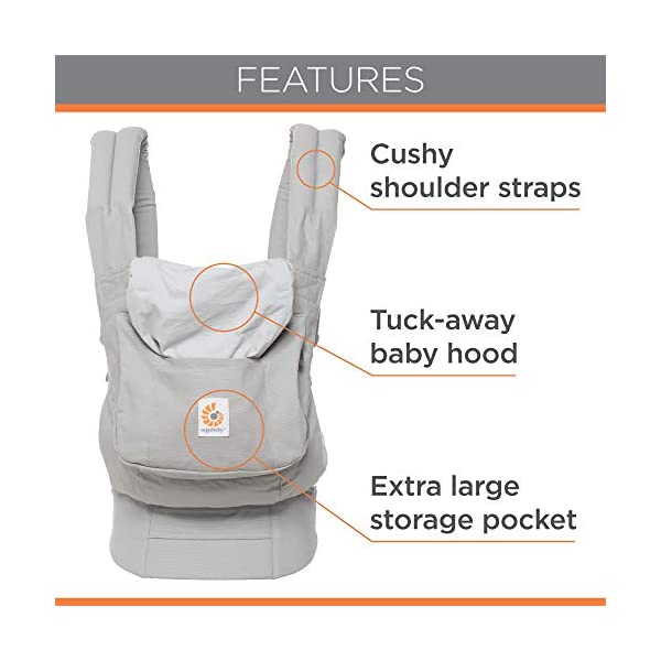 "Ergobaby Front and Back Original Baby Carrier, Pearl Grey Ergobaby Ergonomic baby carrier - ergonomic for baby with wide deep seat for a spread-squat, natural ""m"" seated position. Baby carrying system with 3 carry positions:  front-inward, hip and back. from baby to toddler: 5.5*-20 kg Maximum wearing comfort - lumbar support waist belt (adjustable from 66-140 cm / 26-52 in) that can be adjusted to the height of the carry position. 6"