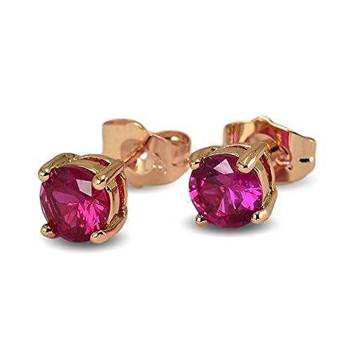 Blue Diamond Club–9ct épais plaqué or rose rempli Boucles d'oreille à tige Rose simulée Rubis 6mm pour Femme