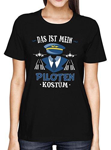 Kostüm Pilot Premium T-Shirt   Verkleidung   Karneval   Fasching   Frauen   Shirt, Farbe:Schwarz (Deep Black ()