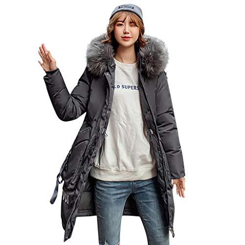 MDenker Damen Kleider Daunenjacke Steppjacke Winterjacke Wattierte Jacke Große Wolljacke mit Kapuze Koreanischer Stil Reißverschluss Jacke College-Mantel Lange Jacke Outwear mit Strumpfhosen Pumps