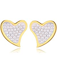 Spargz Gold Plated Pearl With AD Stone Alloy Love Heart Stud Earring For Women ALER 5019