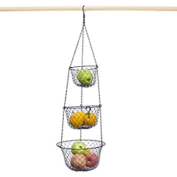 Hanging Basket,3 Tier Storage Fruit Vegetable Plants Multifunction Hanging  Basket For Kitchen,Garden, Black