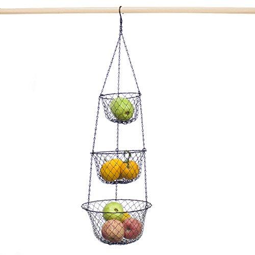 Malmo 3 Stanco Appeso Cesto di Frutta per la Cucina Verdura Frutta Metallo, Nero