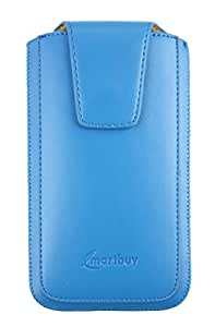 Emartbuy® Sleek Range Light Blue Luxury PU Leather Slide in Pouch Cover ( 5XL ) With Magnetic Flap & Pull Tab Suitable For Zte ZMax
