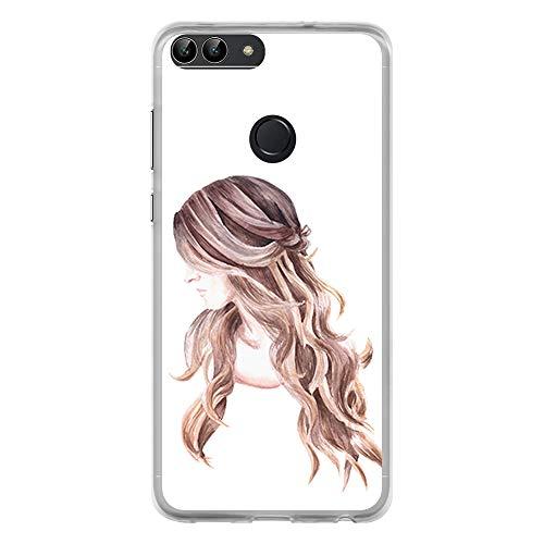 BJJ SHOP Transparente Hülle für [ Huawei P Smart ], Flexible Silikonhülle, Design: Mädchen, Frauenmode des gelockten Haares