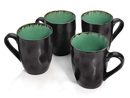 Sänger Kaffeebecher Palm Beach aus Porzellan 4 teilig - Füllmenge der Becher 350 ml - Geschirr mit Reisslack Effekt bestehend aus Tassen in Vintage Optik
