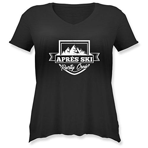 Après Ski - Aprés Ski Party Crew - L (48) - Schwarz - JHK603 - Weit Geschnittenes Damen Shirt in Großen Größen mit V-Ausschnitt (Plus T-shirt Crew Größe)